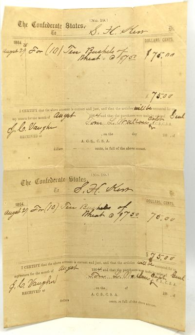 Middlebrook, Virginia, 1864. Two impressment certificates, to Samuel Xerxes Kerr of Middlebrook, Vir...