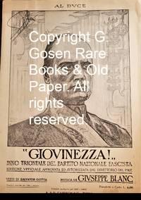 """image of """"GIOVINEZZA!"""" INNO TRIONFALE DEL PARTITO NAZIONALE FASCISTA. EDIZIONE VFFICIALE APPROVATA ED AVTORIZZATA DAL DIRETTORIO DEL P.N.F."""