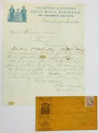 AUTOGRAPH LETTER SIGNED, FROM ELLINGER & FOOTE'S AGENT P.A. CLARKE, FROM HARRISBURG, 25 SEPTEMBER, 1865, ON PRINTED AND ILLUSTRATED LETTERHEAD OF 'ELLINGER & FOOTE'S GREAT MORAL EXHIBITION AND CONTINENTAL QUARTETTE.' WITH THE ILLUSTRATED ENVELOPE WITH STAMP AND POSTAL CANCEL