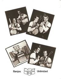 PROFESSIONAL PHOTOGRAPH  OF FLOYD & FLOYD, BANJOS UNLIMITED:; Four shots of the duo in Gay 90s costumes, with their banjos