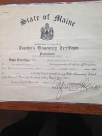 Two State of Maine Department of Education Professional Elementary School Teacher's Certificates.