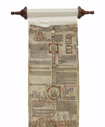 THIS IS AN ASTONISHINGLY BEAUTIFUL AND RARE ILLUSTRATED EARLY GOTHIC CHRONICLE SCROLL THAT PROVIDES ...