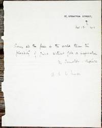 Autograph letter, signed