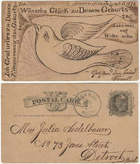 A wonderful calligraphic birthday greeting on the reverse of a U.S. postal card in German and featuring an illustration of a large bird