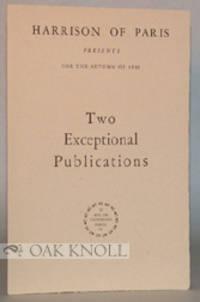 Paris: Harrison of Paris, 1932. self paper wrappers. Harrison of Paris. 8vo. self paper wrappers. (4...