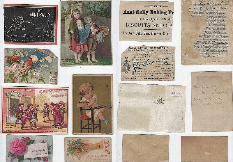 LOT OF SEVEN SCRAP VICTORIAN TRADE CARDS CHILDREN, AUNT SALLY, REWARD OF MERIT, Advertisement