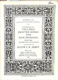 Part I: Valuable Printed Books and fine Bindings.