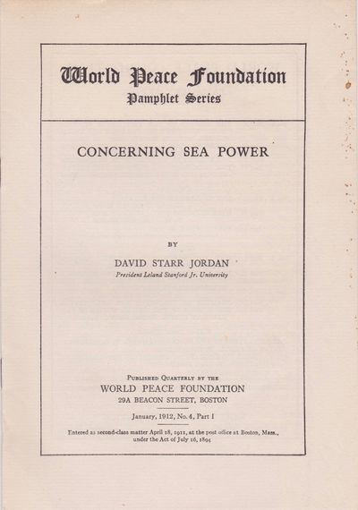 Boston: World Peace Foundation, January 1912. No Edition Stated. Small 8vo (7 7/8 x 5 1/2 inches; 20...