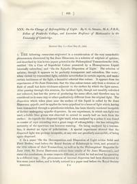 On the Change of Refrangibility of Light (Philosophical Transactions of the Royal Society of...