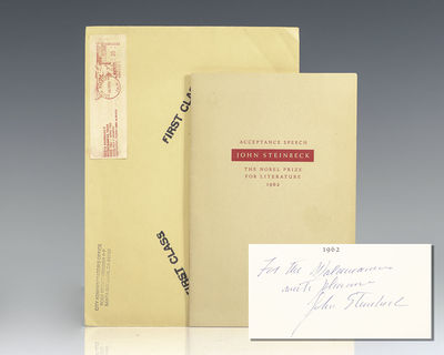New York: The Viking Press, 1962. First edition of Steinbeck's Nobel Lecture. Octavo, original wrapp...
