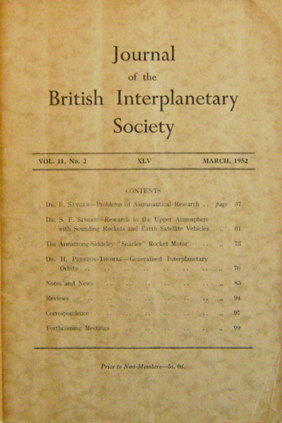 London: Journal of the British Interplanetary Society, 1952. First Edition. Paperback. Very Good/No....