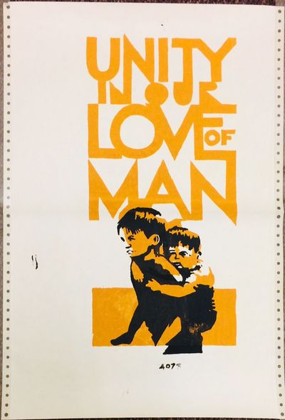 : , 1970. 14.75x21.75 inch poster silkscreened on the back of conjoined sheets of computer printout ...