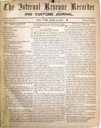 THE INTERNAL REVENUE RECORDER AND CUSTOMS JOURNAL by [Van Wyck, P. Vr.] - 1865