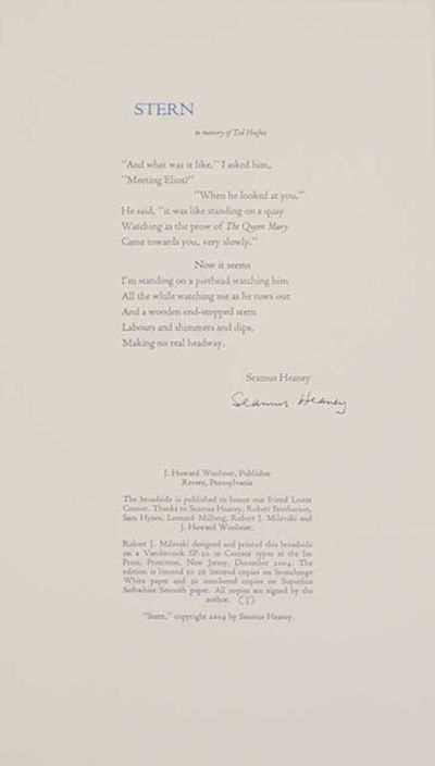 Revere, PA: J. Howard Woolmer, 2004. First edition. Broadside printed in two colors that measures 9