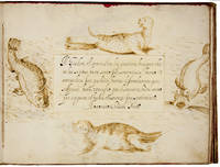COMMONPLACE ALBUM  WITH 27 FINELY REALIZED DRAWINGS  IN SEPIA AND BLACK INK INCLUDING EXOTIC ANIMALS Manuscript Writing Book with Ornamental Borders