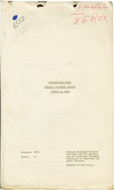 Hollywood: Paramount Pictures, 1944. Post-production Release Dialogue script for the 1944 film. The ...