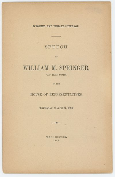 WYOMING AND FEMALE SUFFRAGE. Speech...