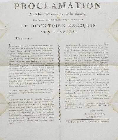 Tulle: Chez R. Chirac, 1798. 1 vols. ca. 13 1/4 x 16 inches. Broadside. Folded, light stains, mostly...