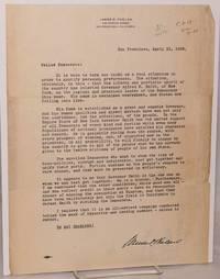image of Letter to Fellow Democrats; San Francisco, April 21, 1928