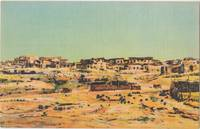 Old Laguna Indian Pueblo, New Mexico, unused linen Postcard