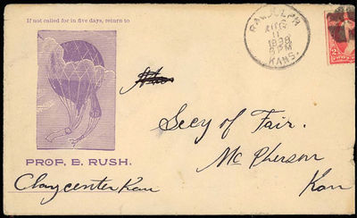 Clay Center, Kansas, 1898. Envelope or Cover. Very good. The envelope features an illustration of a ...