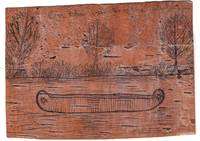 Birch bark postcard, with original illustration featuring canoe with Star of David