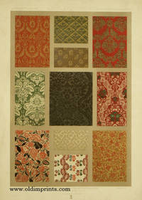 Du XVIe au XVIIIe Siecle - XVIth XVIIIth Century - XVItes XVIIItes Jahrundert.  Color lithograph from L'Ornement des Tissus 1877).