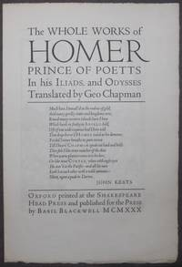 image of Prospectus | Shakespeare Head Press] THE WHOLE WORKS OF HOMER, PRINCE OF POETS in his Iliads, and Odysses