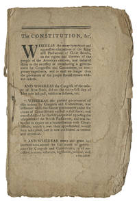 Extremely Rare 1777 New York State Constitution - the first edition in any form - and the Establishment of Provisional Government