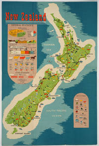 image of New Zealand, General Statistics.  Folding Brochure with color map one side