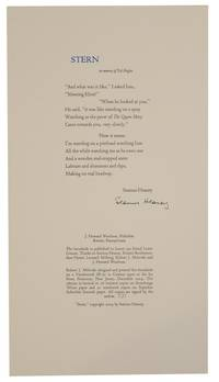 Stern. In Memory of Ted Hughes (Signed Broadside)