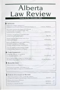 Alberta Law Review. Volume 46 No. 1. November 2008