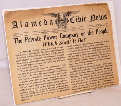 Alameda Ca: SELf-published by the editor, 1935. Newspaper. 8p., unfastened newsprint folio leaves pr...