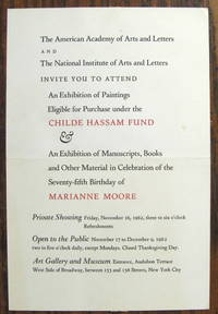 image of 3 INVITATIONS TO EVENTS HONORING MARIANNE MOORE - (1) BRYN MAWR COLLEGE AWARD OF M. CAREY THOMAS AWARD, MAY 15, 1953, (2) EXHIBITION OF MANUSCRIPTS, BOOKS AND OTHER MATERIAL IN CELEBRATION OF THE 75TH BIRTHDAY OF MARIANNE MOORE, AMERICAN ACADEMY OF ARTS & LETTERS, NATIONAL INSTITUTE OF ARTS AND LETTERS NYC, NOV. 16, 1962, (3) ROSENBACH FOUNDATION, OPENING OF THE MARIANNE MOORE ROOM, NOV. 15, 1972, PHILADELPHIA