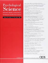 image of Psychological Science (Volume 20, Number 11, November 2009)