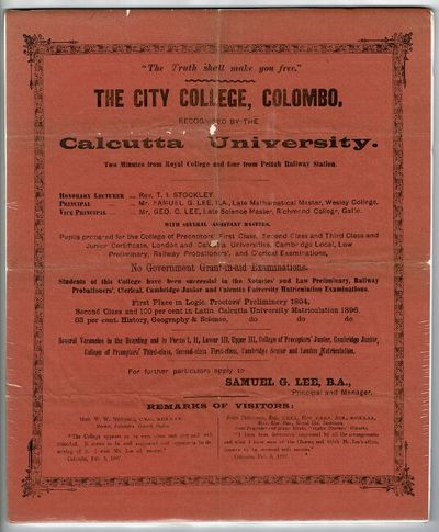 Colombo, , 1897. Quarto broadside printed on orange paper within an ornate metal-cut border, approx....