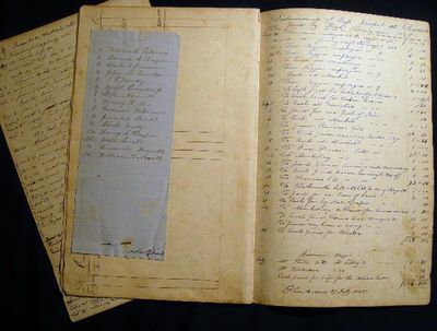 United States of America: Not Published, 1825. (12) ledger style pages, loose. Entries all written i...