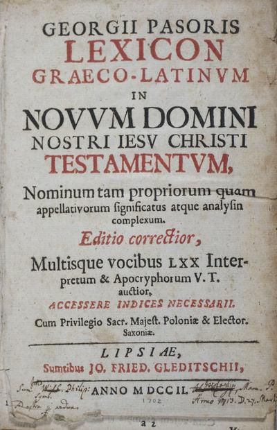 Lipsiae (Leipzig): Jo. Fried. Gleditschi, 1702. Revised (Editio correctior). Hardcover. g- to vg. 12...