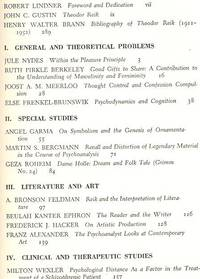 Explorations in Psychoanalysis : Essays in Honor of Theodor Reik, on the Occasion of his Sixty-Fifth Birthday, March 12, 1953. [ Bibliography of Theodor Reik;Good gifts to share: a contribution to the understanding of masculinity and femininity;Thought control and confession compulsion; Psychodynamics and cognition;On symbolism and the genesis of ornamentation;Recall and distortion of legendary material;Dame Holle: dream and folk tale (Grimm no.24); The psychodynamics of gambling; The psychoanalyst looks at contemporary art]