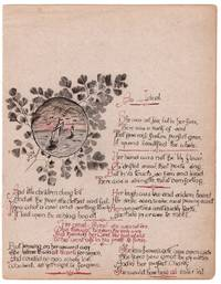 Victorian handwritten leaf from journal, poetry and maritime illustration, 'An Ideal', 1893 in unusual calligraphic style