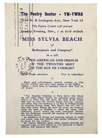 Announcement of Sylvia Beach's talk, The American and French of the Twenties Meet in the rue de L'Odeon
