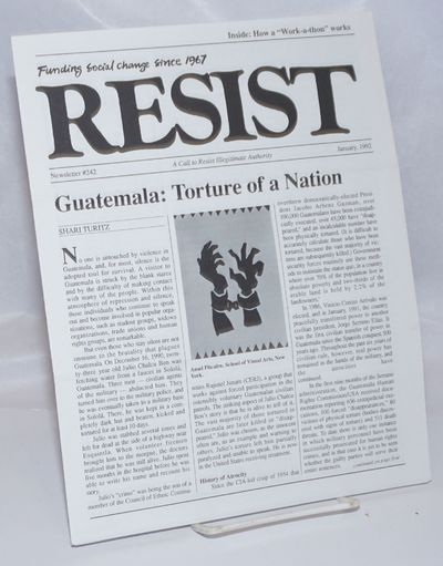 Somerville, MA: Resist Inc, 1992. 10p., newsletter, self-wraps secured by folding, 8.5x11 inches, cr...
