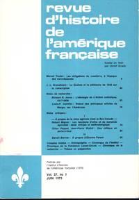 revue  d'histoire de l'amerique francaise