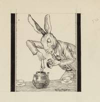 ORIGINAL PEN-AND-INK PORTRAITS OF THE MAD HATTER, DORMOUSE, and MARCH HARE AT THE MAD TEA PARTY (From the 1929 Alice's Adventures In Wonderland By Lewis Carroll Illustrated By Willy Pogany