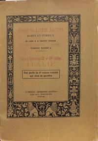 Livres à Figures des XV et XVI S: Italie. = Incomplete Part V/1923 of the  complete set of five.