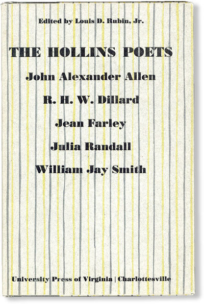 Charlottesville: The University Press of VIrginia, 1967. First Edition. Octavo. Cloth-backed pattern...