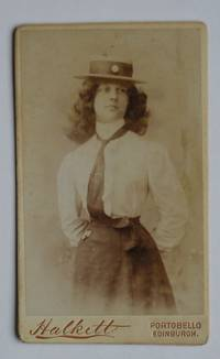 Carte De Visite Photograph: A Young Woman Wearing a Tie & Straw Boater Hat. by William Halkett