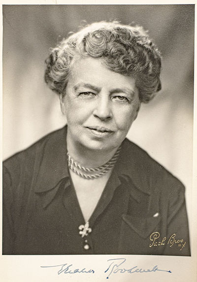 Original black and white photograph of First Lady Eleanor Roosevelt signed by her. With the gilt Pac...
