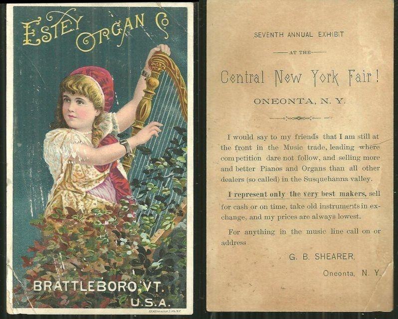 VICTORIAN TRADE CARD FOR ESTEY ORGAN CO., Advertisement