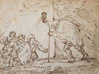 Diogenes searching for an honest man with a lamp.